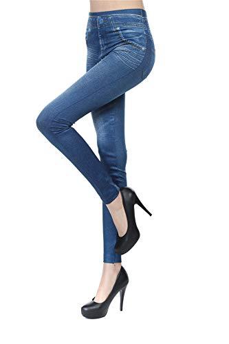 Fliegend Damen Fleece Jeggings Treggings Große Größen Jeansoptik Leggings Gefüttert Elastic Jeans High Waist Skinny Hosen Strumphose M