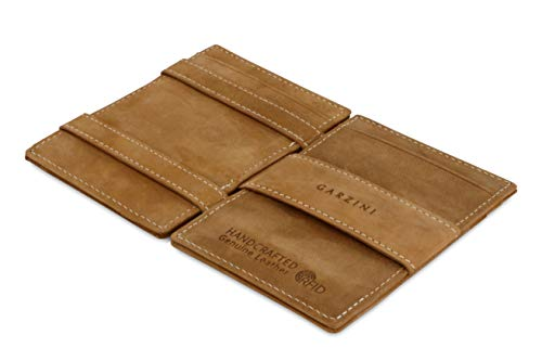 Garzini Magic Wallet with Pull-Tab, Minimalist Wallet with RFID card holder, Leather Wallet for 12 cards, Camel Brown