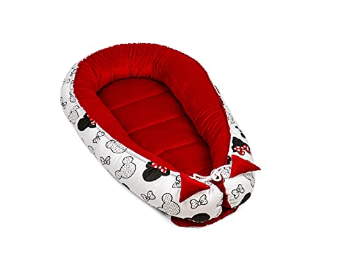 Juego de cuna para recién nacidos – nido para bebé, terciopelo (1.2. Velvet rojo y algodón con ratones, 90 x 50 cm)