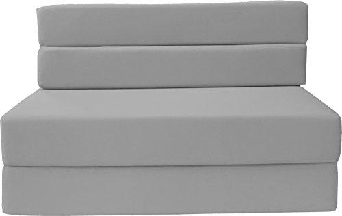D&D Futon Furniture Folding Foam Mattress, Sofa Chair Bed, Guest Beds (Full Size, Gray)