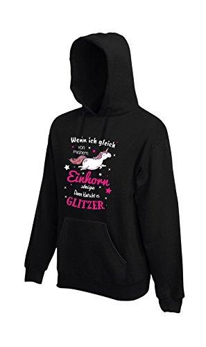 Shirt-Panda Einhorn Unisex Hoodie Einhorn Glitzer mit Unicorn Motiv Spruch Fun Cool Black XXL