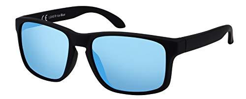 La Optica B.L.M. Sonnenbrille Herren UV400 Retro Sportbrille Fahrradbrille - Gummiert Transparent (Hellblau Verspiegelt)