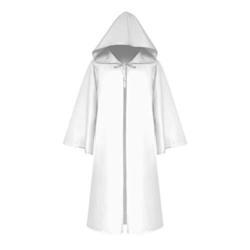 Kuizhiren1 Capa de disfraz de bruja de color slido con capucha, para adultos, nios, color slido, con capucha, para bruja, vampiros, para Halloween, capa de mscaras, color blanco, para nios-L