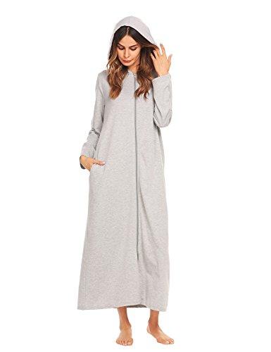 Ekouaer Womens Kimono Ultra Soft Hooded Robe Zip Front Bathrobe,Grey,XX-Large