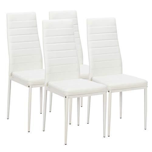 4 sillas de comedor elegantes montadas con textura de pelado alto respaldo, color blanco