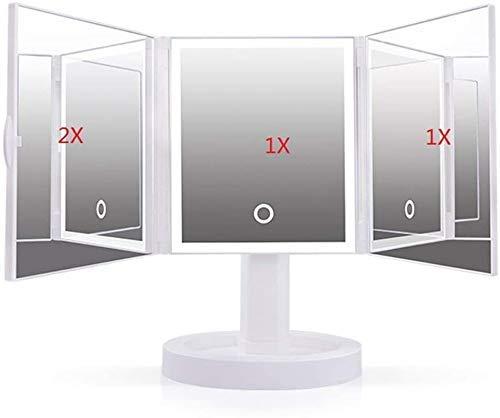 HCFSUK Espejo de Maquillaje LED Espejo de Maquillaje Grande Espejo Plegable Triple...