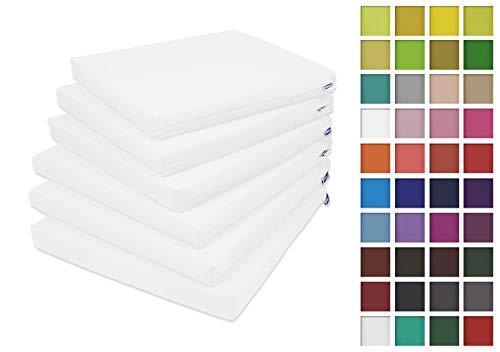 Rollmayer 6er Set Stuhlkissen Stuhlauflage Sitzkissen Sitzpolster Auflage für Stühle in Haus und Garten Kollektion Vivid (Weiß 1, 40x40x4cm)