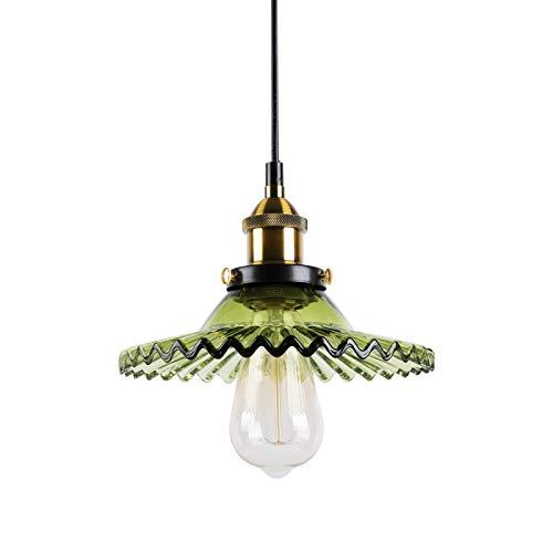 Huahan Haituo Industrial Vintage colgante lámpara de cristal pantalla de vidrio retro lámpara de suspensión de la lámpara de techo lámpara colgante lámpara de luz colgante (verde esmeralda)
