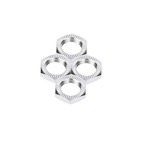 VGEBY1 4 STÜCKE M12 Radmuttern, Aluminiumlegierung Radmuttern 17 MM Schraubenschlüssel für RC Auto Zubehör(Silber)
