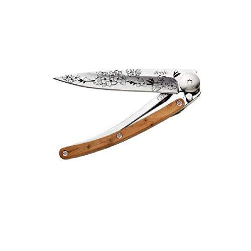 deejo Taschenmesser Tattoo 27g Cherry Blossom, Z40C13-Stahl, Liner-Lock, Wacholder, Gürtelclip, Box