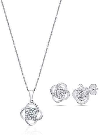 1/4 CT.TW. Genuine Diamond Love Knot Gift Boxed...