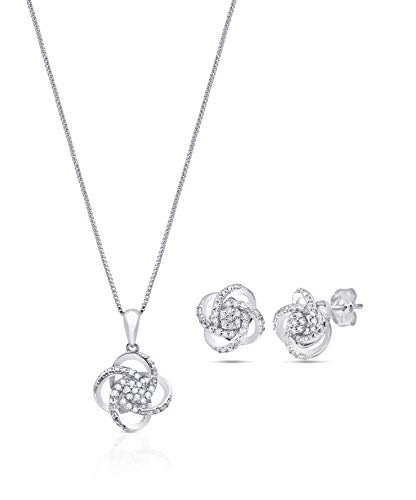 1/4 CT.TW. Genuine Diamond Love Knot Gift Boxed Set in Sterling Silver with 18' Box Chain