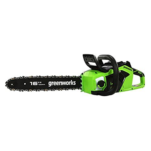 Greenworks Motosierra de batería GD40CS18 (Li-Ion 40V 20 m/s velocidad 1,8kW Potencia 40cm longitud sable 180ml volumen depósito aceite potente motor sin escobillas sin batería y cargador)