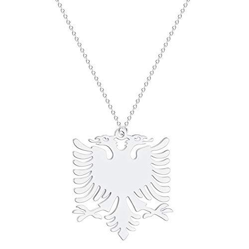 Albanien Adler Anhänger Halskette Wappen Doppelköpfige Adler Halskette Ethnische Edelstahl Geschenke Für Frauen Männer Silber
