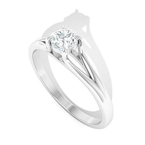 Anillo de compromiso con diamante certificado IGI de 0,25 quilates, diamante de corte brillante IJ-SI de 4 puntas, anillo de novia, anillo de promesa de aniversario, 14K Oro blanco, Size:EU 68