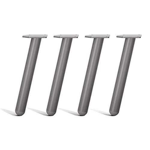 [HLC] Conjunto de 4 Patas para Mesa de Sección Redonda – Estilo Nórdico, Diseño Moderno y Minimalista Ideal para Mesas y Escritorios [40cm,Gris]