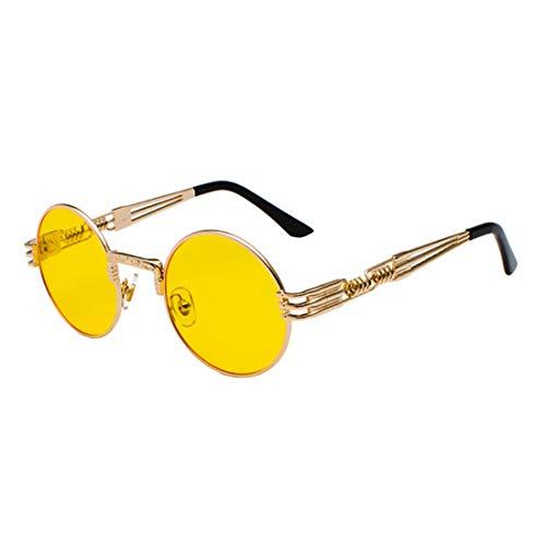 Inlefen Gafas de sol Hombres Mujeres Redondo Vintage Círculo estilo Gafas de sol Gafas de marco de metal de color Gafas