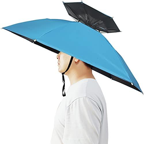 Umbrella Hat, Bocamoty 37 inch Double Layer Fishing Umbrella Hat Hands Free Foldable UV Protection Ventilative Umbrella Cap Adjustable Headwear for Fishing Golf Beach Gardening Sunshade Outdoor