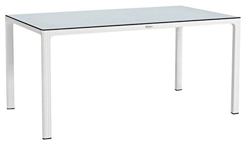 LECHUZA Esstisch mit HPL-Tischplatte (Gartenmöbel), Weiß, 160 x 90 x 75 cm
