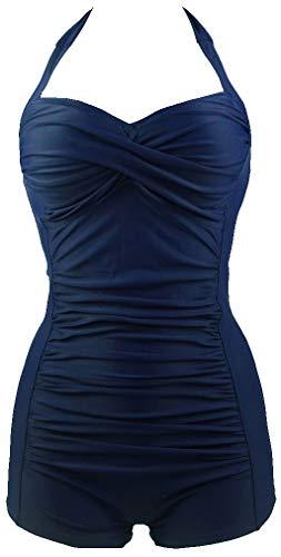 PANOZON Damen Bikini Bademode Retro mit Bein Hotpants hohe Taillen Badeanzug(XL,Blau)