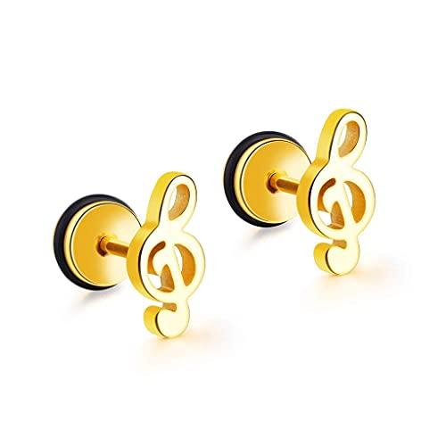 HFDDF Símbolo Musical Minimalista Pendientes De Acero De Titanio Accesorio De Acero Blanco Acero/Negro/Oro Pendientes De Aro De Titanio Antialérgico para Mujeres para Hombres Mujeres