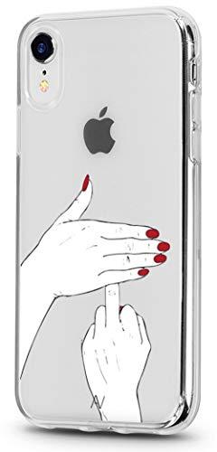 AVANA iPhone XR Hülle Schutzhülle Flexibles Slim Fit Case Schutz Durchsichtige Tasche Transparente Silikon TPU Schale Dünne Muster Handyhülle Clear Cover Motiv (Fuck You)