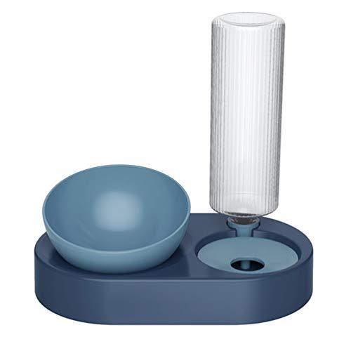 POPETPOP Comedero Automático Y Bebedero para Agua de Mascotas Y Dispensador de Comida para Perros Gatos (Tamaño Grande Azul Marino)