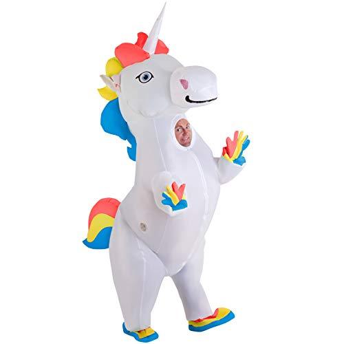 Morph Disfraz Hinchable de Unicornio Rampante para Adultos. Traje Gigante Halloween