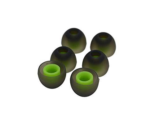 KRS STP Grün/Schwarz x Aufsatz In-Ear Gummi Silikon Ohrpolster Ersatz Große M für Fast alle In-Ear Headset, Kopfhörer z.B von LG, Samsung,Gear Icon X, (Grün)