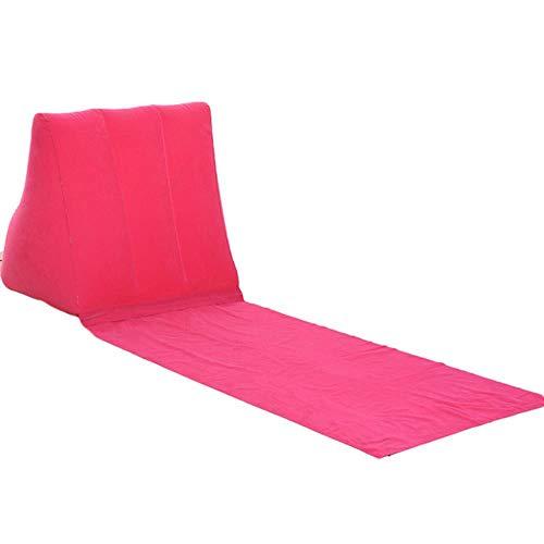 Moin Aufblasbarer Strandmattenstuhl Festival Camping Freizeitliege Rücken Kissen Kissen Stuhl Zum Sonnenbaden, Rose Red
