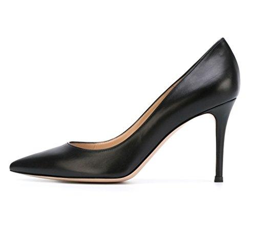 EDEFS Klassische Damen Pumps Stilettos Abendschuhe Party Hochzeit Schuhe Black Größe EU41
