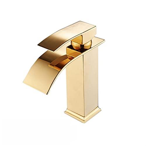 Venta al por Mayor y al por Menor Monte en Cubierta Cascada Baño Grifo Faucet Vanity Buques Fregaderos Mezclador Grifo de Agua fría y Caliente (Color : Gold A)