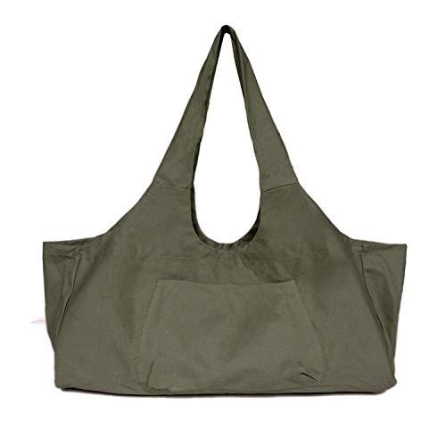 Bolsa de yoga de lona con gran capacidad para esterilla de yoga, bolsa de almacenamiento para ropa de baile, color verde
