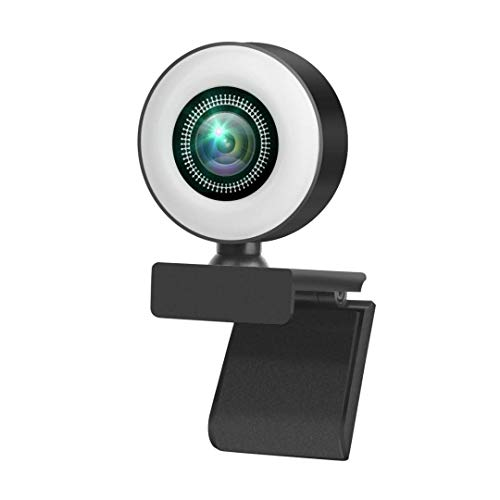 Webcam con Microfono para PC,Webcam PC con Anillo de luz 3 Niveles de Brillo Ajustable, Cámara Web HD 2K Rotación 360°Micrófono con Cancelación de Ruido Webcam PCCompatible con PC Desktop Laptop etc