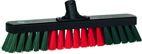 WerkplaatsbezemZwart hout, met stevige rood/groene synthetische vezels