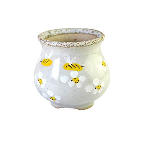 BESTOYARD Mini Blumentopf Keramik Sukkulenten Pflanztopf Kaktus Pflanztopf Pflanzgefäß Bonsai Töpfe (Honig)