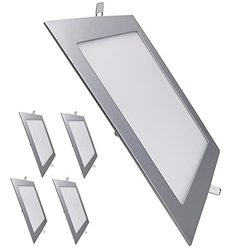 Pack 5x Panel LED Cuadrado Marco Plata 20W. Color...