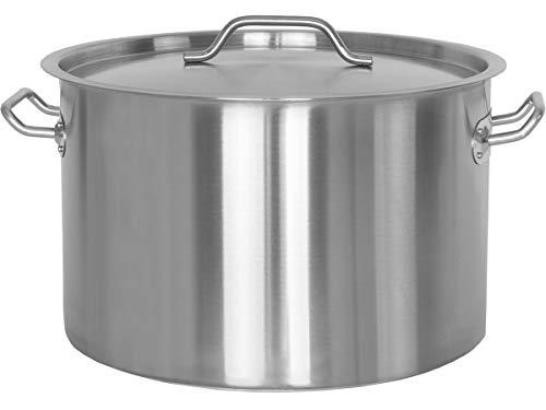 Beeketal 'BKT-32' Gastronomie Kochtopf ca. 30 Liter aus Edelstahl mit starken Griffen und Deckel, Topf für alle Herdarten geeignet (Induktion, Gas, Glaskeramik), ideal als z.B. Suppentopf