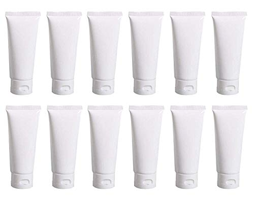 12 PCS Empty Refillable White Plastic Soft Tube Squeeze Bottles with Flip Cover Storage Cosmetic Facial Lotion Care Toothpaste Shampoo Jars Empty Containers Cases Travel Sample Packing (15ML/0.5OZ)