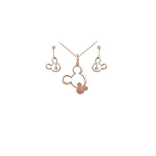 Hotaden Oro Plateado Collar de ratón y de los Pendientes del Collar Pendiente cristalino Lindo Conjunto de joyería para los Regalos de cumpleaños niñas Adolescentes Mujeres de Navidad - de Oro Rosa