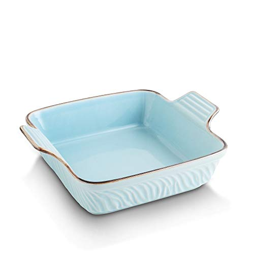 KOOV Ceramic Bakeware, 8x8 Baking Dish, Square Baking Pan, Ceramic Baking Dish, Brownie Pans for Cake Dinner, Kitchen, Texture Series (Sky)