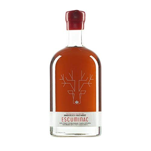 Award Winning Escuminac Great Harvest Maple Syrup 16.9 fl oz (500ml) Canada Grade A - Dark Robust Taste (medium) Unblended, Pure, Organic, Single Forest. Gift bottle - A Perfect Sweet Gift