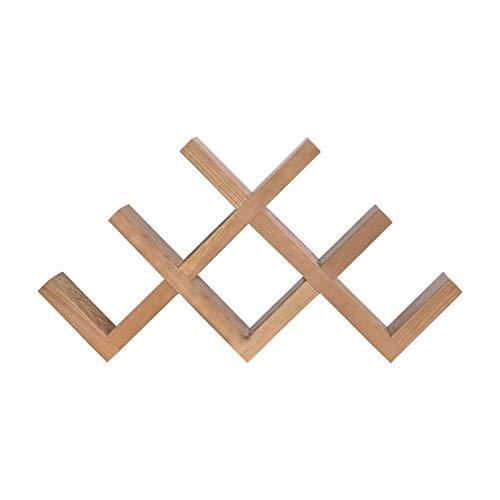 SUNLIJINYI Kirschholz-Weinregal Speicher Organisator, Modern Geometric Design Kann 7 Flaschen Beherbergungs, Umweltfreundlich Natürlich Holz Desktop Kleinen Wein Storage Rack
