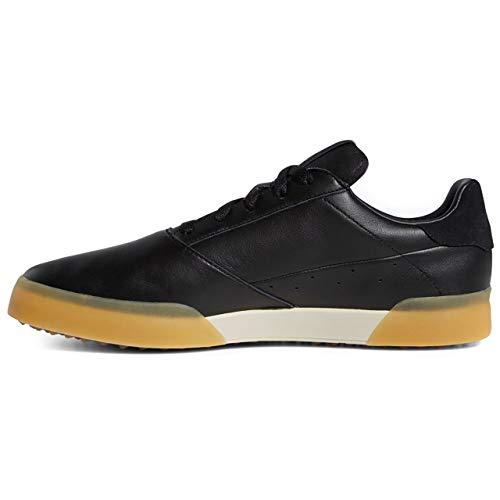 adidas Adicross Herren-Golfschuhe, Retro-Stil, Leder, wasserdicht, ohne Spikes, Schwarz / Gold / Braun, Größe 43