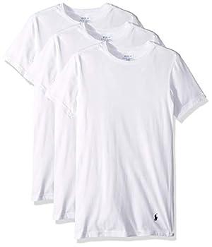 Polo Ralph Lauren Slim Fit w/Wicking 3-Pack Crews White/Cruise Navy Pony Print LG