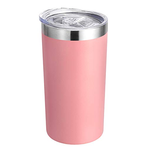 DOMICARE 12oz Tumbler with Lid Stainless Steel Insulated Coffee Travel Mug Skinny Tumbler Lowball Double Wall Coffee Cup for Coffee Tea and Beverages(1 Pack Pink)