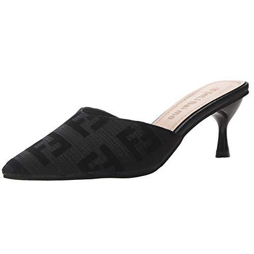 [DEBLE] サンダル ミュールピンヒール ハイヒール スリッパ?サボ ヒール6.5cm レディース 靴 シューズ ハイヒールシューズ カジュアル 痛くない 可愛い コンフォート (245, ブラック)