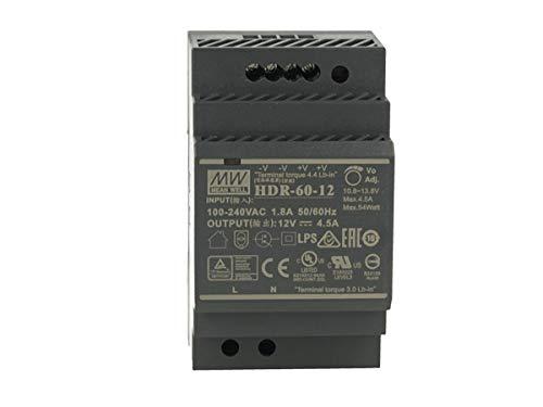 MeanWell HDR-60-12 - Transformador de raíl industrial 12 V 54 W barra guía DIN Rail Power Supply universal