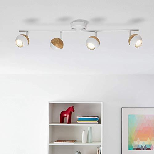 Lámpara de techo LED, 4 focos giratorios, 4 bombillas reflectoras LED de...