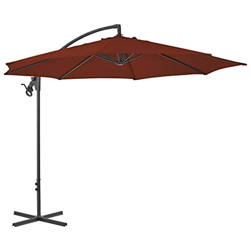 vidaXL Sombrilla Voladiza con Poste Parasol Exterior Patio Terraza Protección contra Rayos Ultravioleta Playa Piscina Toldo de Acero Terracota 300 cm